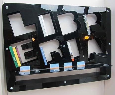 fimel–Estantería alfabeto de plexiglás Negro Tamaño l.1316X H 1000,,