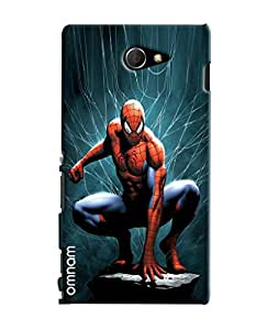 Omnam Spiderman With Blue Back Ground Designer Back Cover Case for Sony Xperia M2