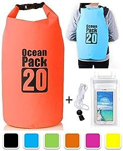 SG Dreamz 10 & 20 Litre Dry Pak Waterproof Bag With Long Adjustable Shoulder Strap (Orange, 20 Litre)