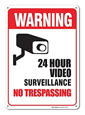 24 Hour Video Surveillance Sign - No Trespassing Sign Legend 10 X 14 .40 Aluminum