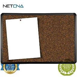 Black Splash Cork Board with Presidential Trim (4 x 4\') - Free NETCNA Touch Screen Pen - By NETCNA