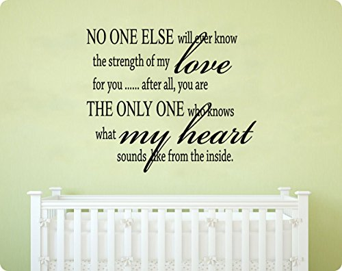 "27"" No One Else Will Ever Know the Strength of My Love for You, After All You Are the Only One Who Knows What My Heart Sounds Like From the Inside Baby Nursery True Saying Forever Wall Decal Sticker Art Mural Home Décor Quote"
