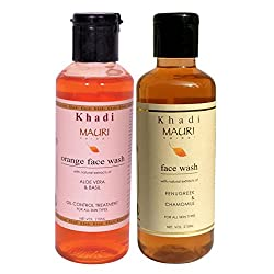Khadi Mauri Ayurvedic Herbal Face Wash Combo Pack of 2 Orange & Fenugreek (Methi) Natural & Organic 210 ml each