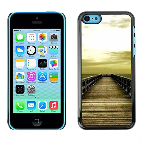 For Apple iPhone 5C Case , Golden Brown Dock Sea Sun Summer - Colorful Pattern Hard Back Snap-On Cover Case Skin Mobile Phone Shell Bumper