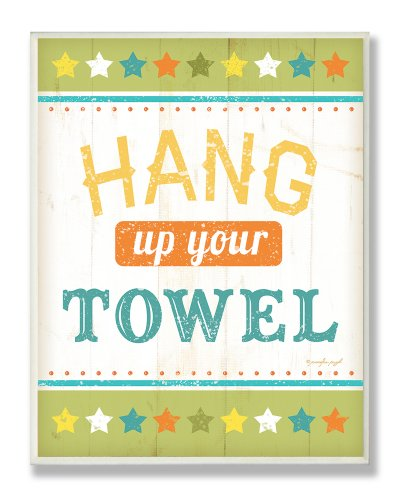 The Kids Room by Stupell Hang Your Towel Green Stars Rectangle Wall Plaque