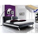 Polsterbett schwarz komplett Bett 160x200 + Lattenrost + Matratzen Singlebett Designerbett Malin