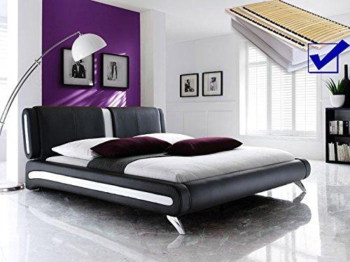 Polsterbett schwarz komplett Bett 160×200 + Lattenrost + Matratzen Singlebett Designerbett Malin kaufen