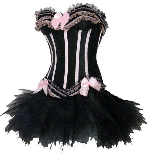 Forever Young Burlesque Moulin Rouge Lolita FANCY DRESS Costume Oufit 2 Piece Corset + Tutu Skirt - Large UK 12-14