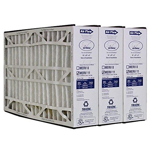 "Heating, Cooling & Air Trion Air Bear 259112-105 (3 Pack) Pleated Furnace Air Filter 16""x25""x5"" MERV 11"