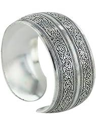 Imported Women Vintage Carved Totem Open Cuff Bracelet Tibetan Silver Bangle