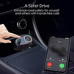 FM Transmitter/Cigarette Lighter Socket/USB Car Charger 3-in-1, Otium Bluetooth Car Adapter Wireless Audio Radio Receiver Music Modulator Car Kit Buil
