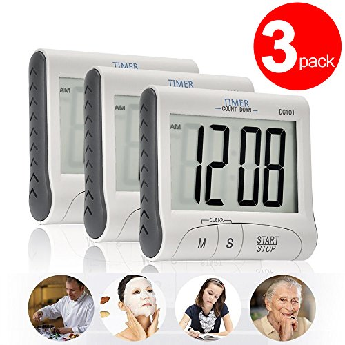 3 Pack Senbowe™ Digital Kitchen Timer/ Cooking Timer with Large Display Screen, Loud Sounding Alarm, Strong Magnetic Backing, Retractable Stand (Timer Stand compare prices)