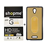 Shopme HD Tempered Glass, Bubble Proof,Anti Glare For Gionee Marathon M4 With Silicon Metal (Golden) Back Cover
