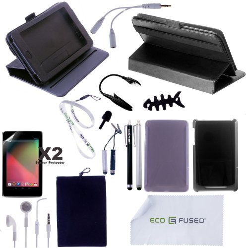 Nexus 7 Accessory Combo / (Black) 360 Degree Rotating Leather Case / (Smoke) TPU Case / (Black) Hard Case / 5 (Silver AND Black) Stylus Pens / Earphones /Screen Protectors / LED Reading Light - ECO-FUSED® Microfiber Cleaning Cloth and Lanyard Included - And MORE!