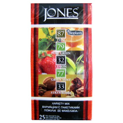 Bioplants Jones Variety Tea Mix (Pack of 1, Total 25 Teabags)