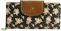 ETIAL Women\'s Vintage Floral Zip Wallet Faux Leather Card Holder Black