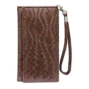 Jo Jo A5 Bali Leather Wallet Universal Pouch Cover Case For ZTE Blade X5 Dark Brown