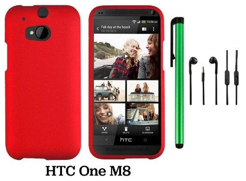 Htc One (M8) Solid Plain Color Hard Protector Cover Case (For 2014 Htc New Flagship Android Phone; Carrier: Verizon, At&T, T-Mobile, Sprint) + 3.5Mm Stereo Earphones + 1 Of New Assorted Color Metal Stylus Touch Screen Pen (Red)