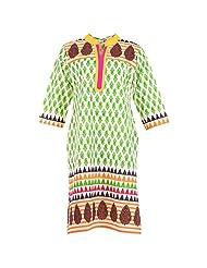 Karni Women's Viscose Green & Black Kurti