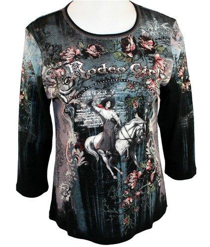 Cactus Fashion 3/4 Sleeve, Rhinestone Studded, Artfully Printed, Western Themed Cotton Black & Aqua Colored Top - Rodeo Girl