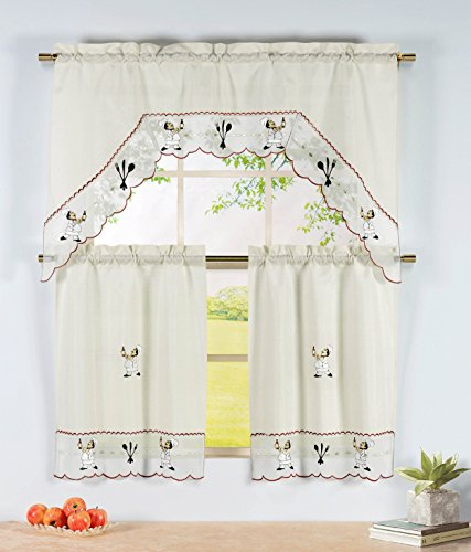 Window Elements Embroidered 3-Piece Kitchen Tier and Valance 60 x 72 Set with Scalloped Border, Wine Chef (Kitchen Elements compare prices)