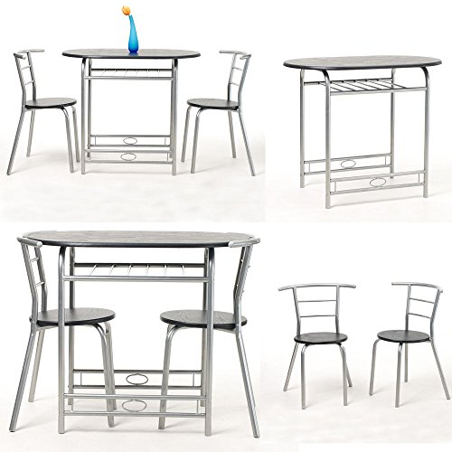 krasavic 3 piece kitchen dining table set for 2 with stack chairs wood