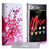 LG Optimus L3 E400 Case Floral Bee Gel Silicone Cover - Pink / White