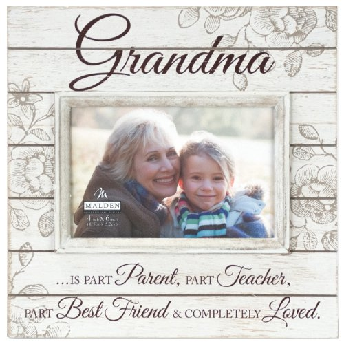 Malden International Designs Sun Washed Words Grandma Cream Distressed Picture Frame, 4x6, Cream (Grandma Photo Frame compare prices)