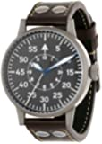 Laco 1925 Men's Automatic Watch with Black Dial Analogue Display and Brown Leather Strap 861749