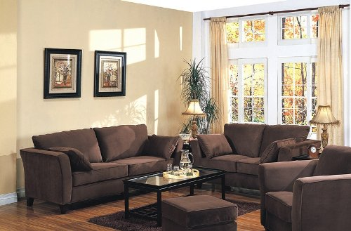 Buy Low Price Coaster 2PCS Contemporary Coco Brown Micro Fabric Sofa & Loveseat Set (VF_500231CHOSL)