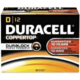 Duracell CopperTop Alkaline Batteries with Duralock Power Preserve Technology, D, 12/Pack