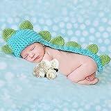 Kalevel Cute Cartoon Dinosaur Style Infant Newborn Baby Girl Boy Crochet Beanie Hat Clothes Baby Photograph Props