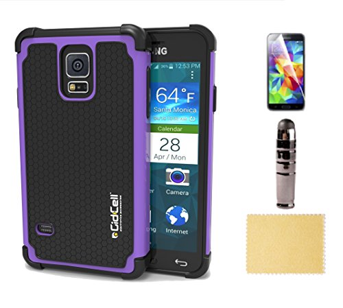 Samsung Galaxy S5 Occurrence, Cover - Best Double Armor Ballistic, Traumatize Absorbent, Heavy Duty, Low Profile, with Extra Screen Protector and Stylus Accessories Bundle Kit, Multiple Colors Purple, Hot Pink, Criminal - For Men/Guys, Women, Boys, Girls,