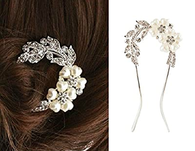 High Quality Stunning Silver Colored Hair Clip / Pin / Barrette With Clear Rhinestones Crystals Studded Leaves Shapes And Heart Shaped White Pearls Creating Flower Forms By VAGA©