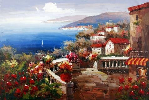 Oil Painting 'a Coastal Town For Home Decor' Printing On High Quality...