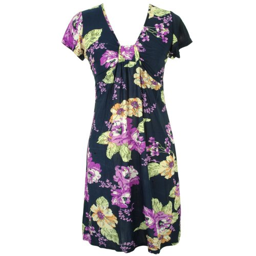 Simple Multicolor Floral Print Casual Short Sleeve Dress Size X-Large