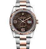 Rolex Datejust 36 Steel Rose Gold Watch Chocolate Floral Dial 116231 Rating