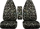 2004-2012 Ford Ranger/2004-2009 Mazda B Series Camo Truck Bucket Seat Covers with Center Armrest Cover: Beige and Green Camo (16 Prints Available)