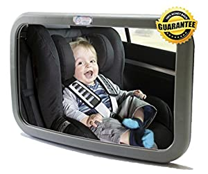 1-DAY SALE! Baby & Mom Back Seat Rear View Baby Mirror - Easily Watch your Precious Child In-Car with this Adjustable Convex Baby Safety Mirror - Larger Angle than other Brands allows Full Sight of Rear Facing Infant Car Seat - Lightweight with High Quali