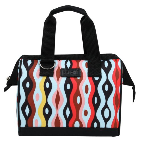 Sachi Fun Prints Insulated Lunch Tote, Style 34-221, Wavy Rain - 1