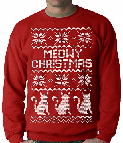 Meowy Christmas (White Print) 3 Cats Ugly Christmas CREWNECK SWEATER, Red, Large