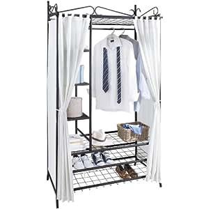 kleiderschrank metall schwarz mit hochwertigem vorhang aus. Black Bedroom Furniture Sets. Home Design Ideas