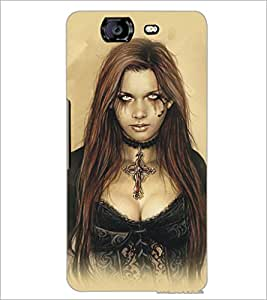 PrintDhaba Scary Girl D-5414 Back Case Cover for MICROMAX A350 CANVAS KNIGHT (Multi-Coloured)
