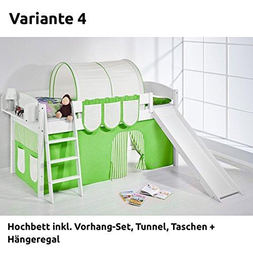 Hochbett Spielbett IDA Grün Beige, mit Rutsche und Vorhang, weiß, Variante 4