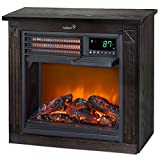 Ivation 5,100 BTU Infrared Quartz Fireplace - 1500W Electric Heater with Realistic Flame, Digital Thermostat, Remote Control, Timer & Safety Shutoff