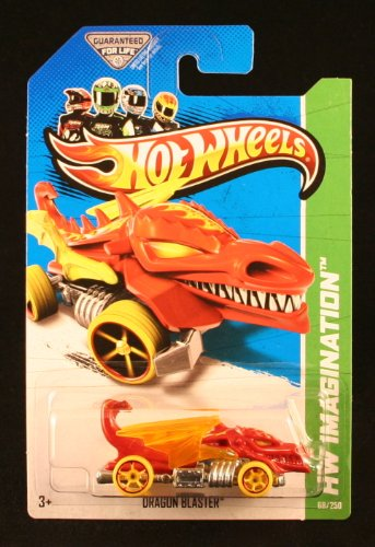 DRAGON BLASTERS (RED) * HW IMAGINATION / DINO RIDERS * 2013 Hot Wheels Basic Car 1:64 Scale Series * Collector #68 of 250 * - 1