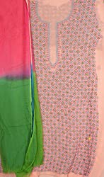 Exotic India Coral Salwar Kameez Fabric from Lucknow with Chikan Embroid - Coral