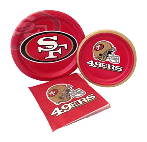 San Francisco 49ers Football Party Supply Pack! Bundle Includes Paper Plates & Napkins for 8 Guests