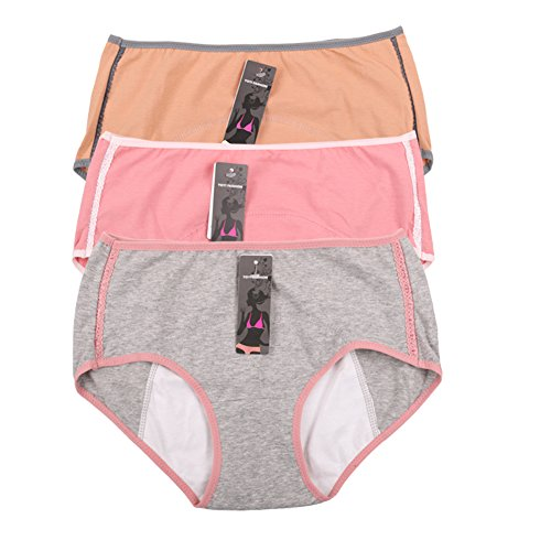 Women's Menstrual Period Leak Proof Control Brief 3 Pack US Size M/6 Pink,Grey,Camel (Period Pants compare prices)