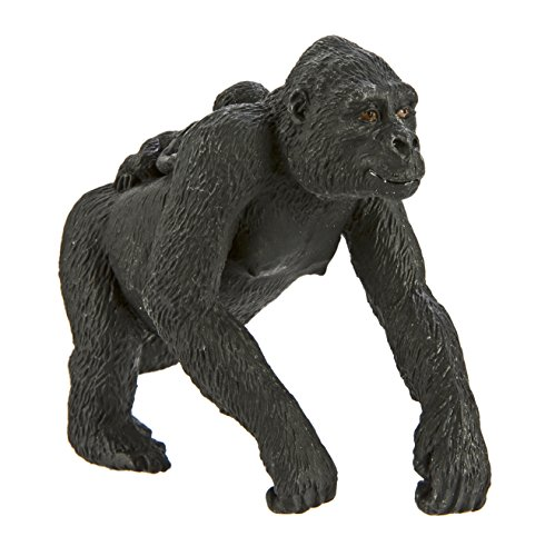 Safari Ltd Wild Safari Wildlife - Lowland Gorilla with Baby - Realistic Hand Painted Toy Figurine Model - Quality Construction from Safe and BPA Free Materials - For Ages 3 and Up